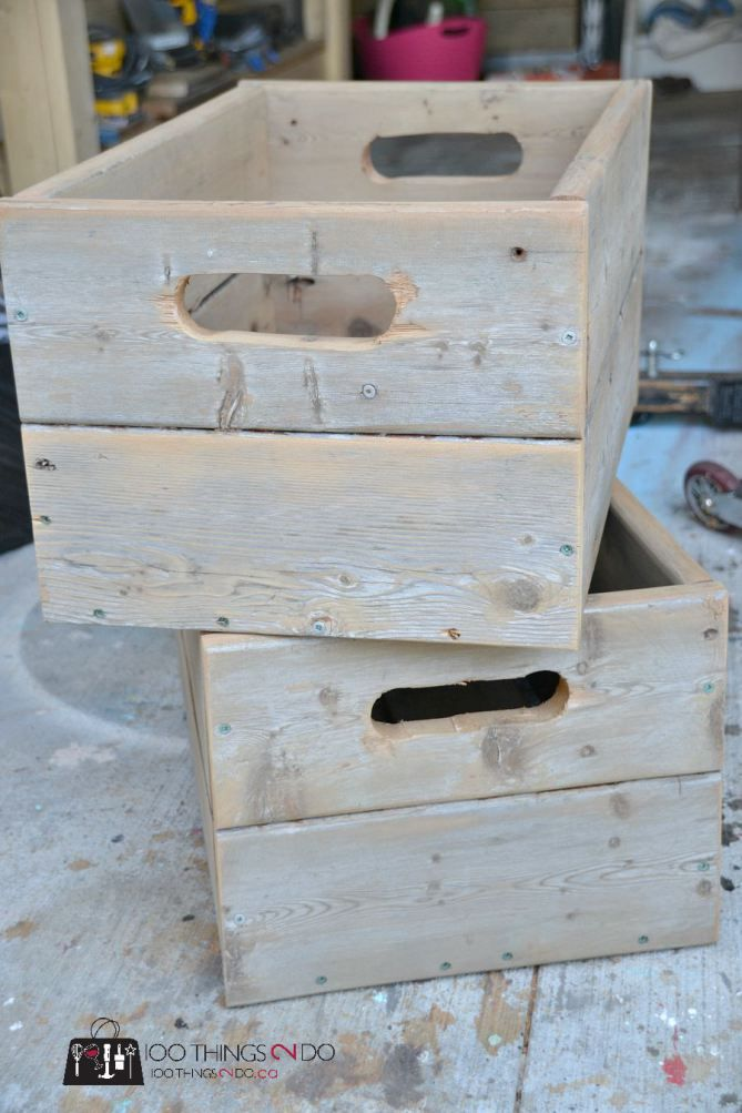 DIY some rustic crates out of old deck boards. Strong, sturdy, great for storage and even better for Christmas!