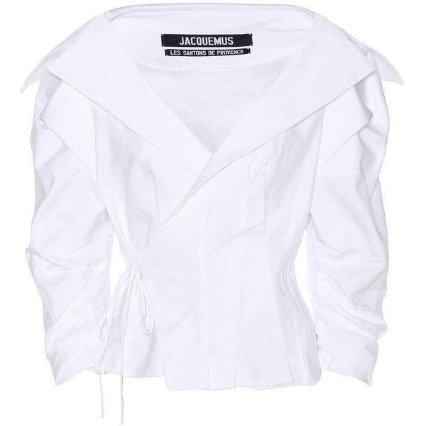 Jacquemus Cotton Blouse (9.722.200 VND) ❤ liked on Polyvore featuring tops, blouses, shirts, white, cotton shirts, white blouse, white shirt blouse, shirt blouse and shirt top
