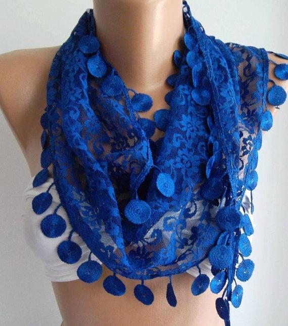 Cobalt Blue / Elegance  Shawl / Scarf with Lacy Edge by womann, $19.90