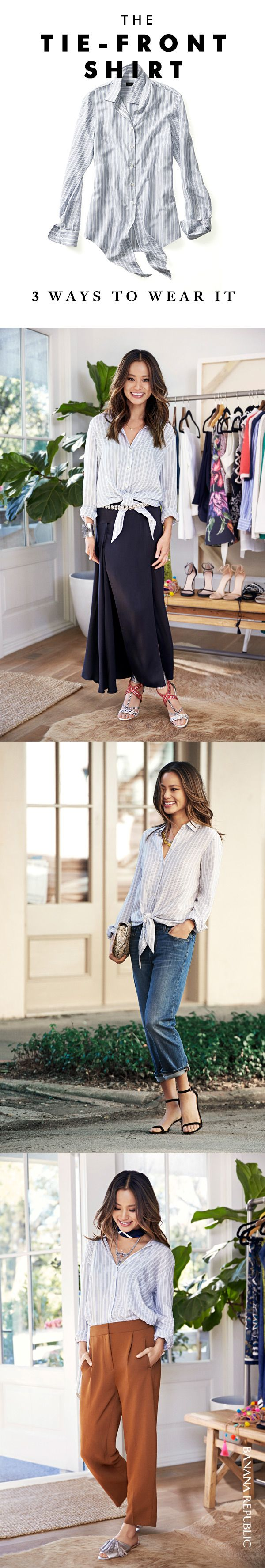 Style icon Jamie Chung picked her summer Closet VIPs: very important pieces that can be worn in so many ways. Try this trendy tie-front striped top with a neutral trouser and add a sandal. Or wear it with a beautiful maxi skirt and add an interesting belt.