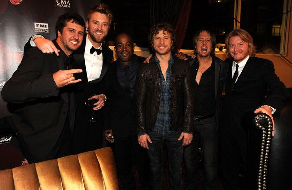 Luke Bryan Photos Photos - (EXCLUSIVE COVERAGE; PREMIUM RATES APPLY)  Recording artists (L-R) Luke Bryan, Charles Kelley, Darius Rucker, Deirks Bentley, Keith Urban and Phillip Sweet pose at the Capitol Records Party following the 44th Annual CMA Awards at Sambuca on November 10, 2010 in Nashville, Tennessee. - 44th Annual CMA Awards - Capitol Records Post Party