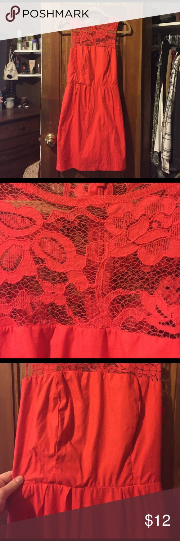 BB Dakota Red Dress Such a cute cotton and lace Sundress for the summer! The back is see through but it would be so cute with a bandeau underneath. Just needs to be ironed and you are good to go! In great condition! BB Dakota Dresses