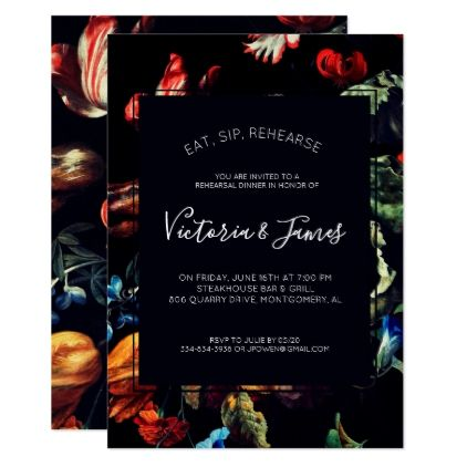 Midnight Garden Rehearsal Dinner Invitation - script gifts template templates diy customize personalize special