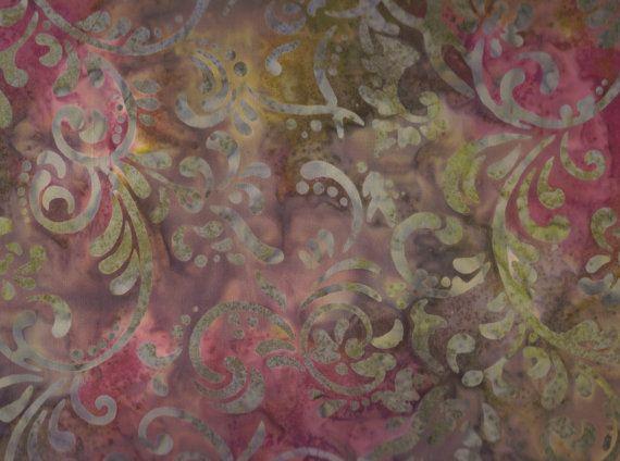 "EOB Clearance, 26"" Fabric, Floral Batik, Fabric, Batik, Swirl Batik, Serenity Swirl Mulch, Design by Avlyn, 00282"