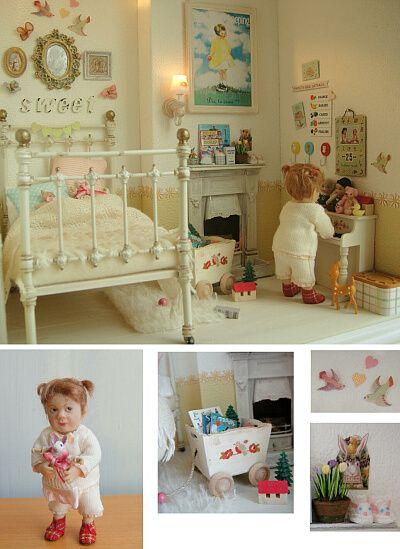 1/12 scale of dollhouse by Yuri Munakata  Doll by Catherine Munier