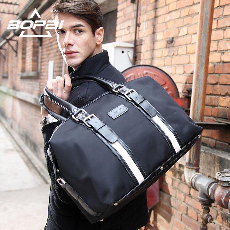 BOPAI Fashion brand Men Travel Bags Large Capacity 20L Women Luggage Duffle Bags Oxford Folding Bag For Trip Waterproof black