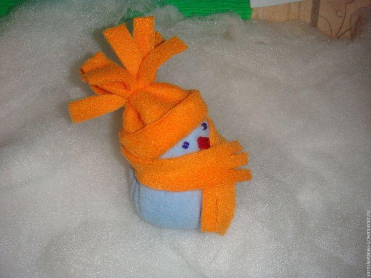 Купить Снеговик из флиса(подарок, игрушка). - подарок, подарок на день рождения, подарок на новый год, подарок девушке