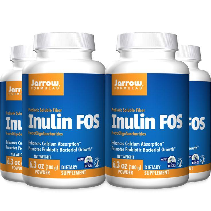 Jarrow Formulas Inulin FOS , Enhances Calcium Absorption* Promotes Probiotic Bacteria Growth* , 6.3 Oz. (Cool Ship, Pack of 4)