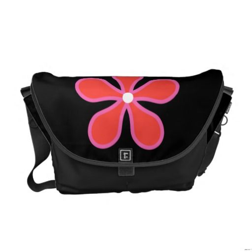 Black Bag with Flower Messenger Bag