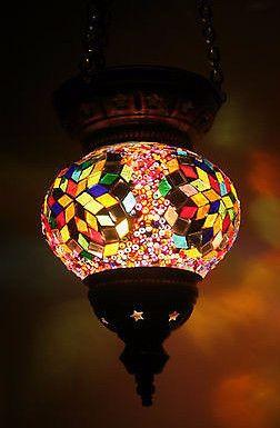Colourful Mosaic Mandala Turkish Hanging Glass Lamp