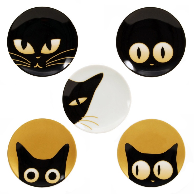 Every black cat lover needs these: Miya Cat Eye Ceramic Plate Set