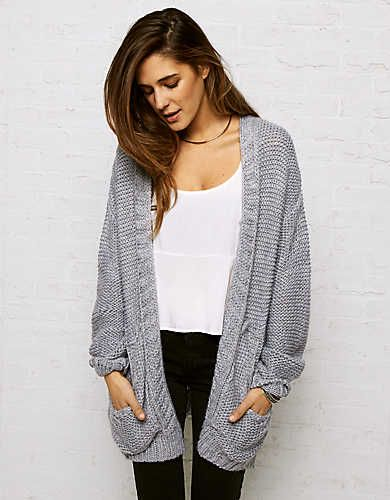 Don't Ask Why Oversized Cardigan , Grey | American Eagle Outfitters