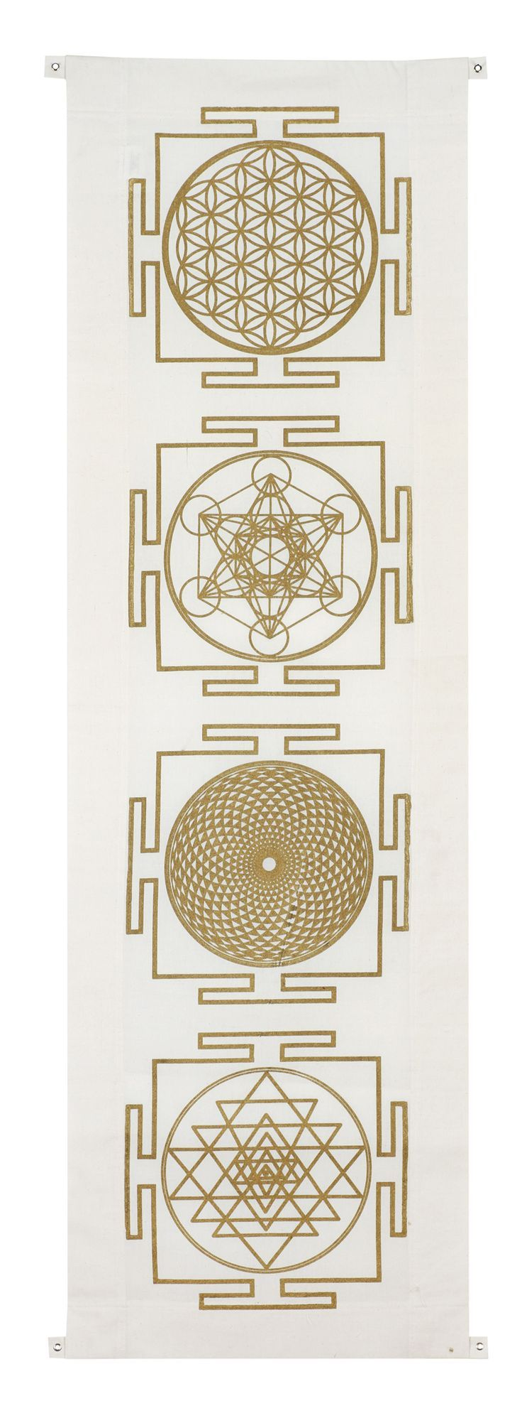 Four yantra banner includes the symbols: flower of life, metatrons cube, sahashara and sri yantra.: