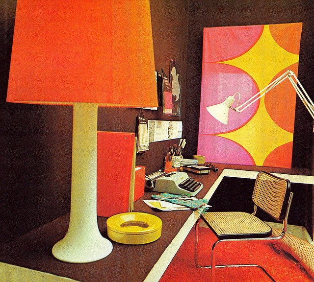 Very Retro Mod Office Orange Decor Pinterest