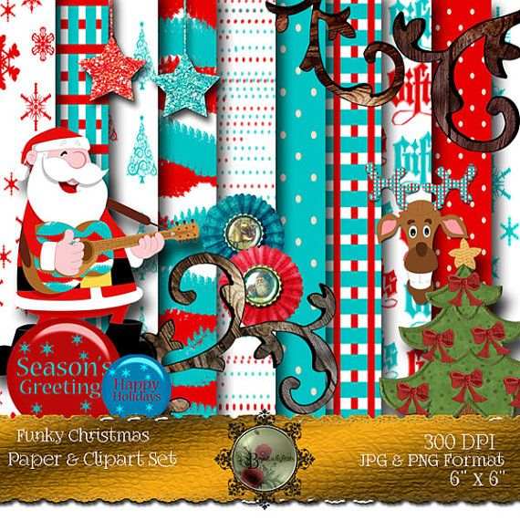 Funky Christmas Clip Art Collection  Pattern by Beauladigitals