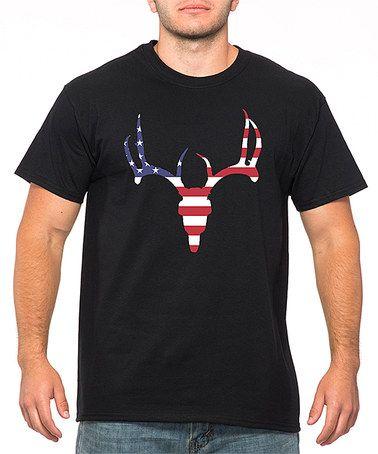 Look at this #zulilyfind! Black American Flag Deer Tee - Men's Regular #zulilyfinds