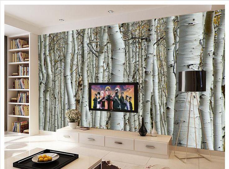 3D papier peint murale personnalisée mode la dernière choc 3 d TV paramètre mur bouleau arbres non - tissé papier peint chambre décoration(China (Mainland))
