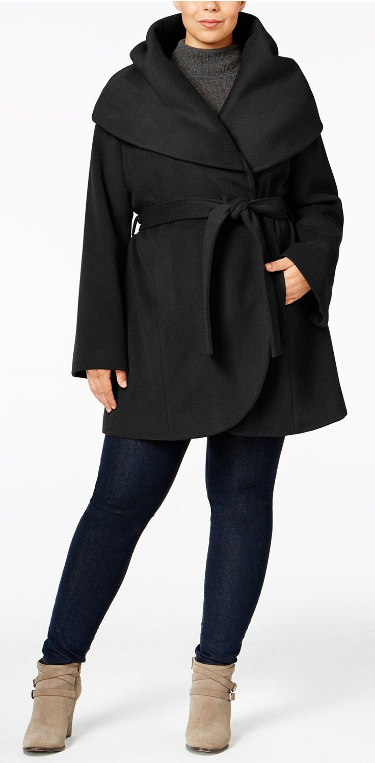 Plus Size Wrap Coat