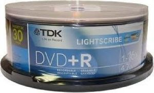 TDK LightScribe DVD+R - 4.7GB - 16X - 30 Pack. 