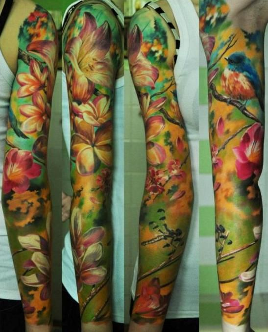 Tropical flower and bird themed sleeve tattoos for Tropical themed tattoos