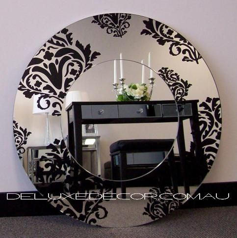 Round Black Floral Detail Frame Glass on Glass Mirror 2296BF (700 x 700 mm) http://deluxedecor.com.au/products-page/wall-mirrors/round-black-floral-detail-frame-glass-on-glass-mirror-2296bf-700-x-700-mm/