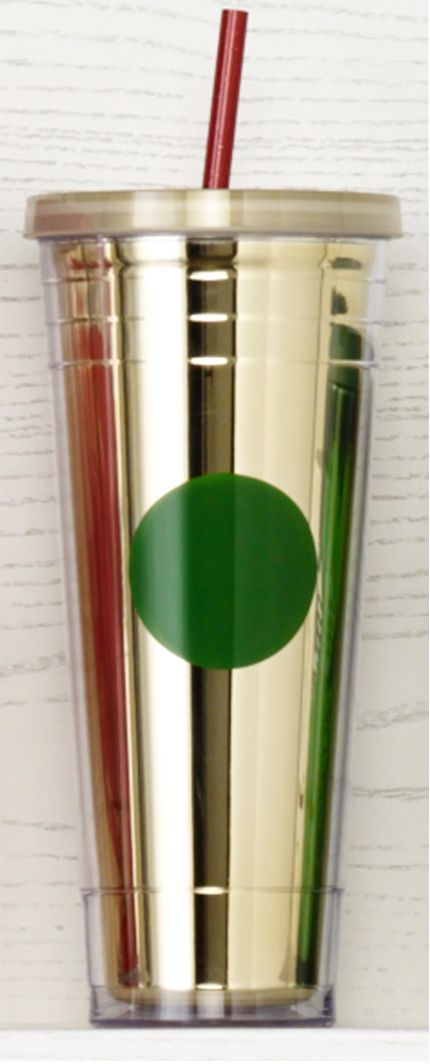 24-fl oz acrylic Cold Cup with shiny gold inner liner, textured lines and bright green dot. #Starbucks #DotCollection