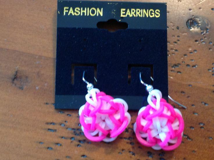 Neon pink rainbow loom earrings.  Bloom