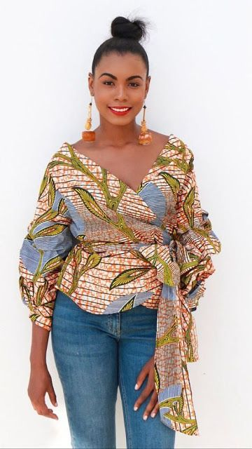 51f16e12057d97 Online Hub For Fashion Beauty And Health  Lovely And Stylish Ankara V-Neck  Blouse On Jeans F..