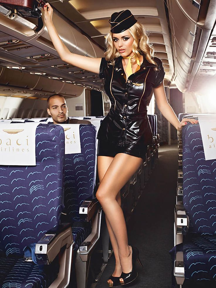 Sexy Airline Head Stewardess Black Dress Adult Costume ...