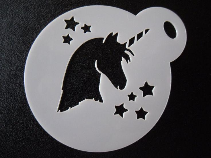 Unique bespoke new laser cut unicorn head stars cookie / face painting stencil
