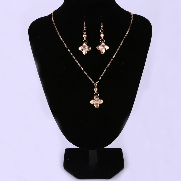 Necklace and Earring Set Gold Color with Flower Shaped Drop Dangle Earring&Necklace Set for Women Wedding
