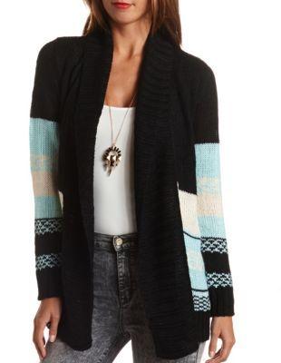 chunky aztec cardigan sweater
