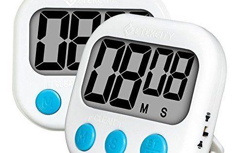 Etekcity Lot de 2 Minuteurs Numériques Magnétiques de Cuisine, Grand Ecran LCD, Minuteur A Compte à Rebours, 2 Batteries…