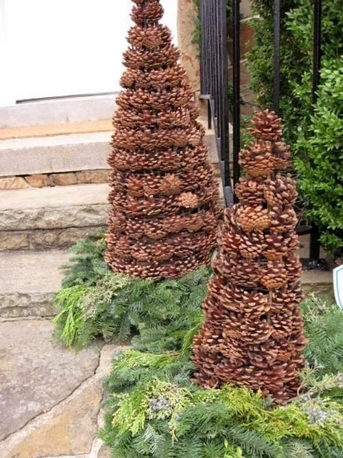 Pine cone craft crafty pinterest for Pine cone christmas tree craft