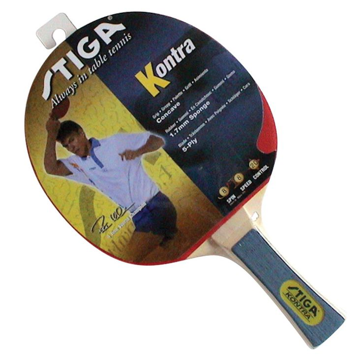 STIGA KONTRA TABLE TENNIS BAT is a quality recreational bat with excellent ball control characteristics. Ideal for the improving table tennis player.