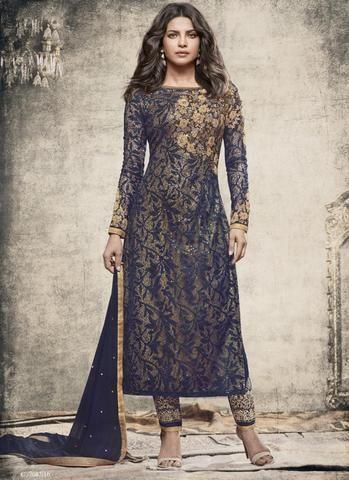 Priyanka Chopra Blue Ladies Salwar Suit Online Shopping ,Indian Dresses - 1