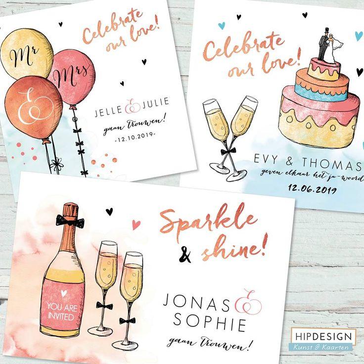 Originele en hippe trouwkaarten met vrolijke illustraties!