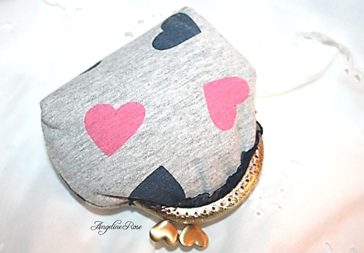 heart coin purse, heart clutch, angeline rose purse, unique purse, cute coin purse, gray purse, kiss lock wallet by AngelineRosePurse on Etsy