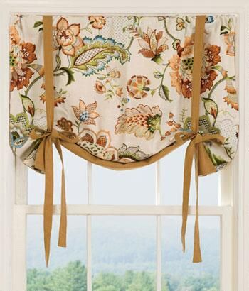 These would probably be gorgeous on the windows in the bay and the other living room window. -----> Jacobean Floral Lined Tie-Up Valance
