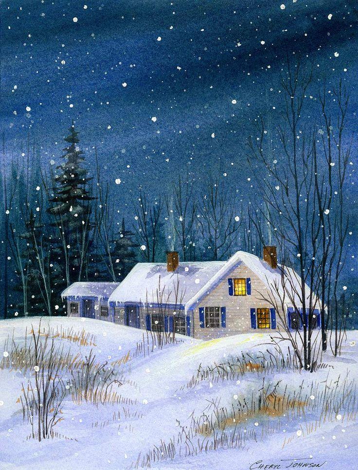 398 besten winter watercolor bilder auf pinterest. Black Bedroom Furniture Sets. Home Design Ideas