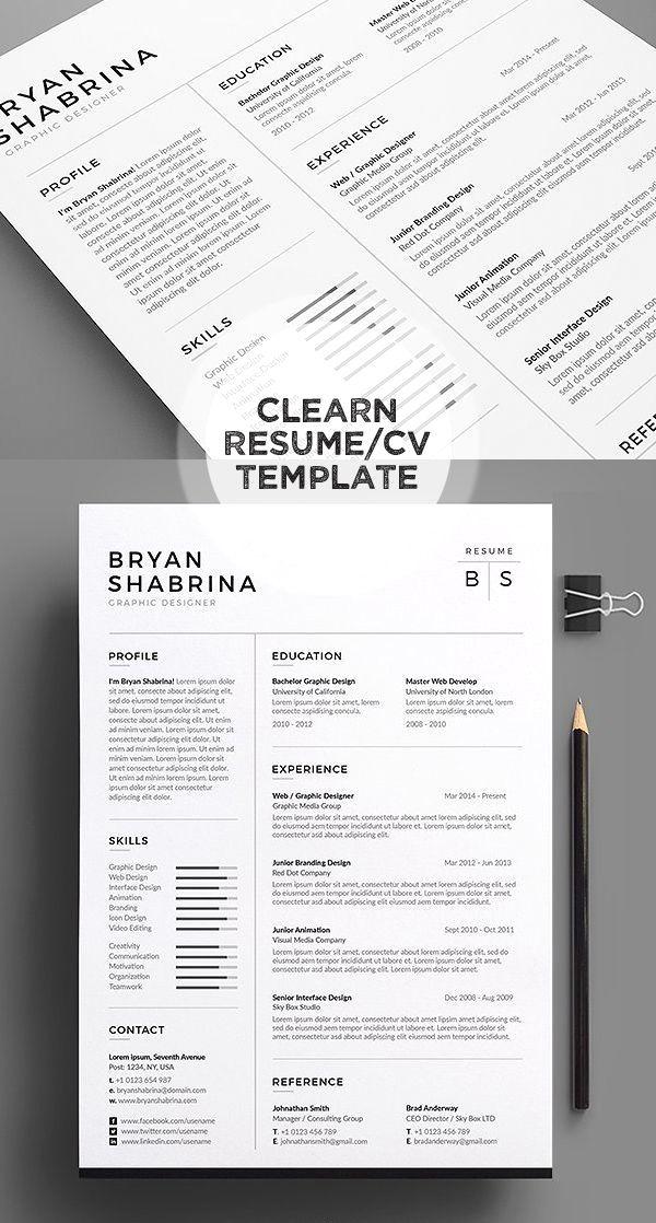 Resume Cv Bs Best Resume Template Resume Design Minimalist Resume Template