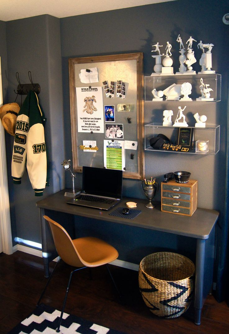 Refurbished metal tanker style console from Steel Santos in LA, and midcentury Eames chair from ETSY. A teen boys desk.