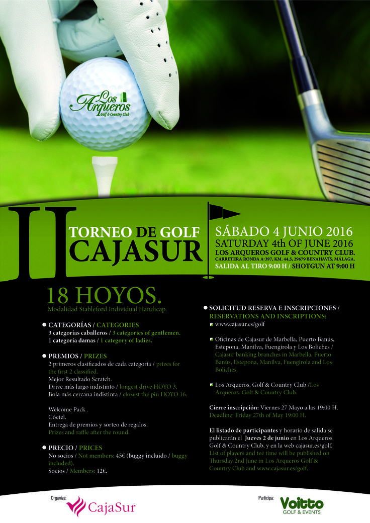 Cartel torneo golf Cajasur en Los Arqueros Golf en Marbella organizado por Voitto Golf & Events