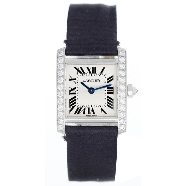 Pre-Owned Cartier Tank Francaise Ladies 18k White Gold & Diamond Watch... ($9,900) ❤ liked on Polyvore featuring jewelry, watches, silver, 18k watches, preowned watches, diamond dial watches, diamond jewelry and 18 karat gold watches