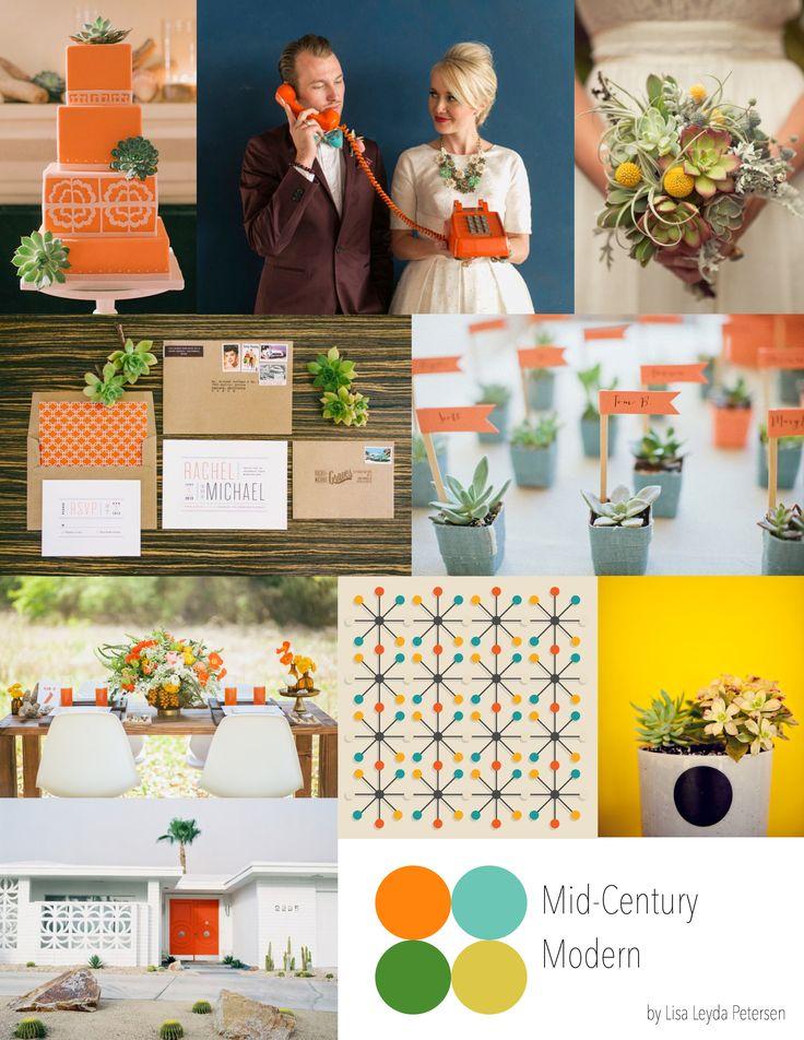 Mid-Century Modern Wedding Inspiration Board by Lisa Leyda Petersen, Wedding Planner