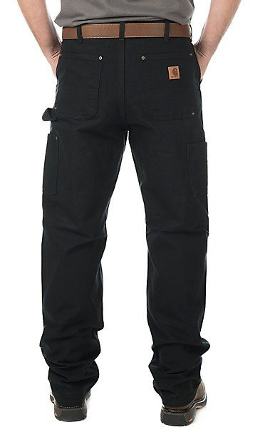 Carhartt Men's Black Washed Duck Double-Front Work Dungaree Original Fit Work Pants