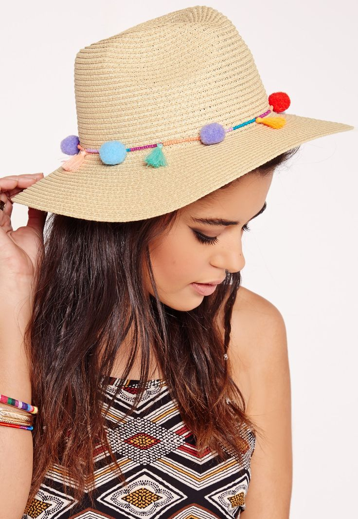 Straw Hat Outfit Inspiration and Products for Summer 2016 | @missguidedcouk straw hat with colorful pom poms