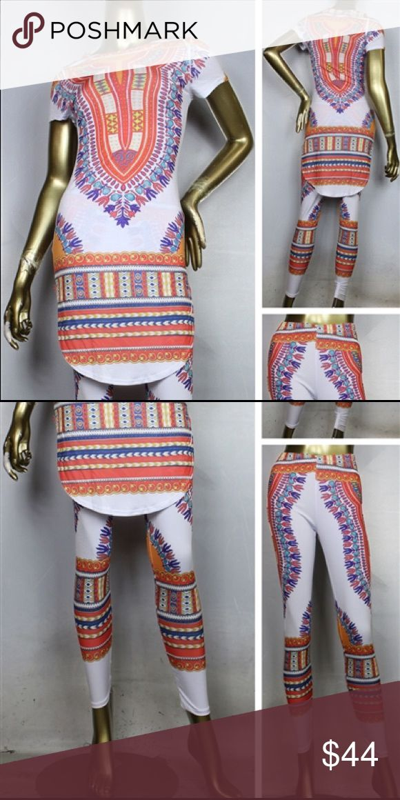 NWT Plus Size Dashiki Print Leggings and Top Set Brand new. Never worn. 95% Polyester 5% Spandex. Made in USA. Fits true to size. Pants Leggings