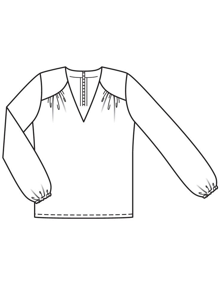 Блузка с v-образным вырезом горловины - выкройка № 109 из журнала 11/2016 Burda – выкройки блузок на Burdastyle.ru
