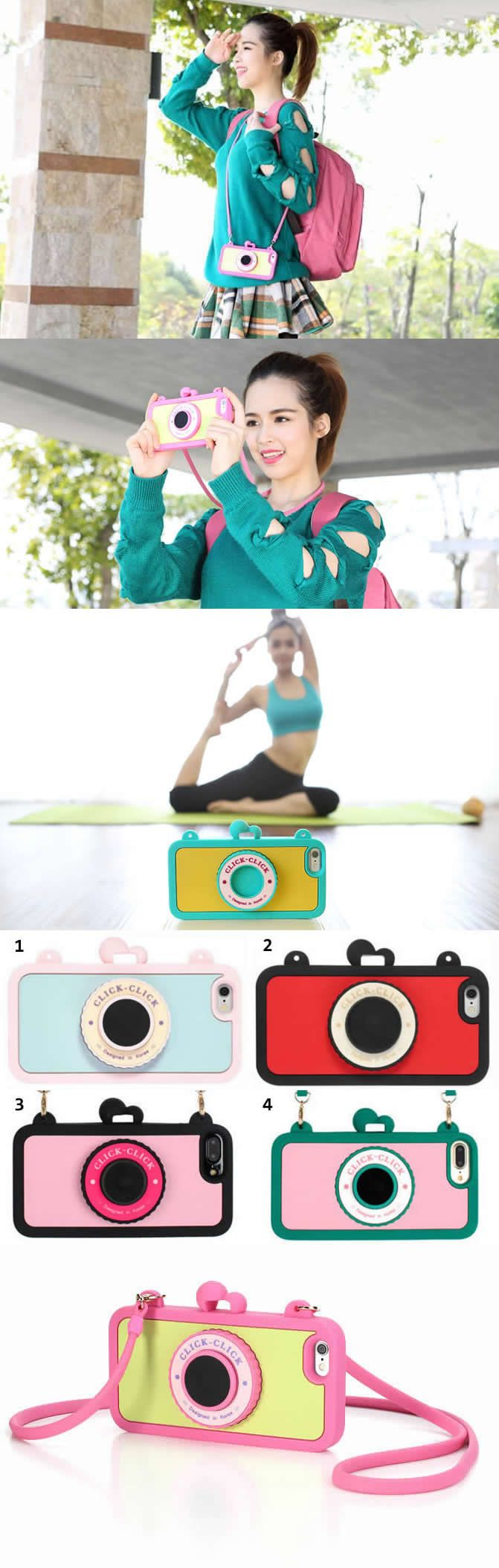 Moschino Camera Style iPhone Case Cover With Strap For iPhone 7/7 PlUS,there is a Wireless Camera Shutter Selfie Bluetooth Remote in lens